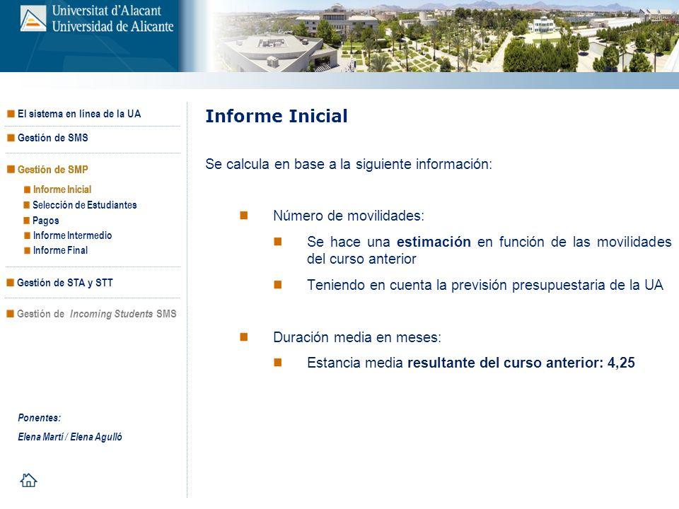 Informe Inicial Se calcula en base a la siguiente información: