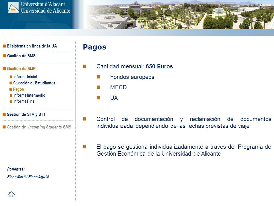Pagos Cantidad mensual: 650 Euros Fondos europeos MECD UA