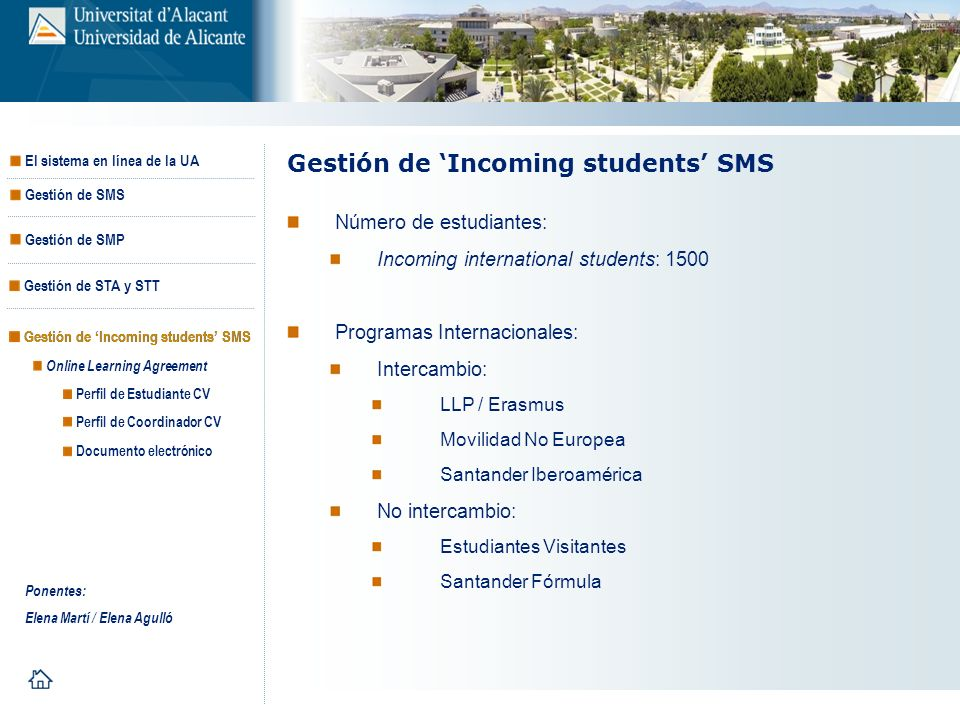 Gestión de 'Incoming students' SMS