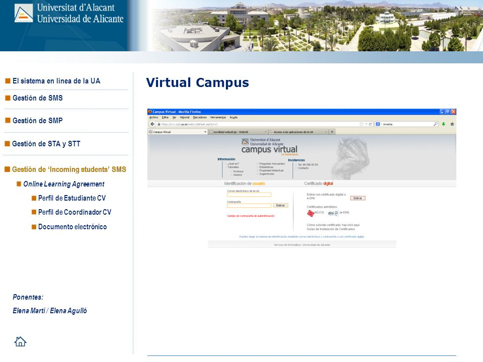 Virtual Campus Gestión de 'Incoming students' SMS