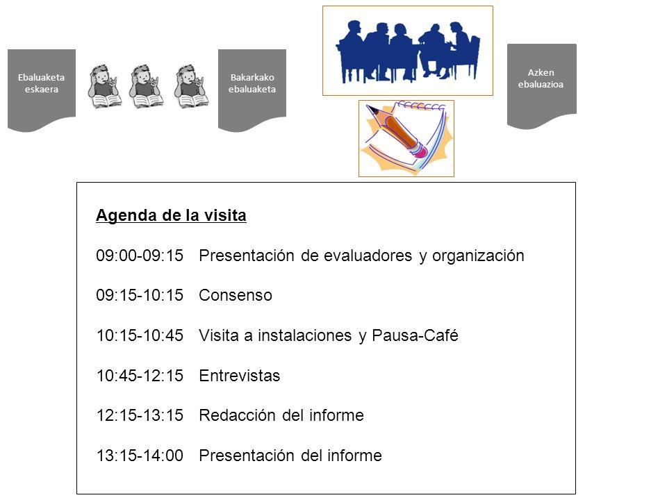 09:00-09:15 Presentación de evaluadores y organización
