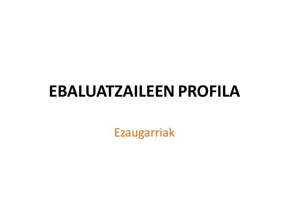 EBALUATZAILEEN PROFILA