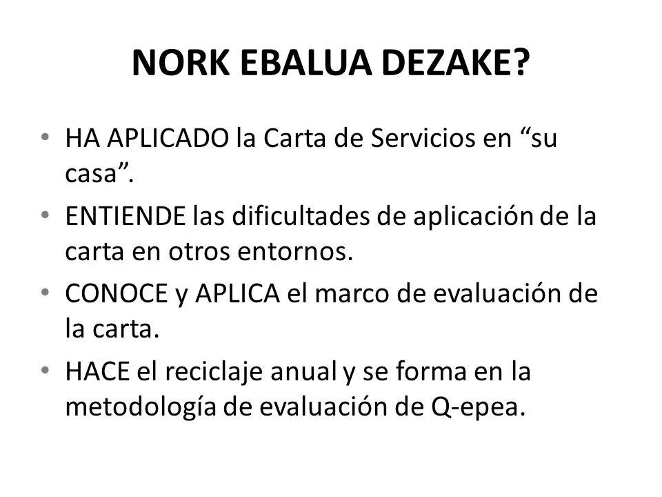 NORK EBALUA DEZAKE HA APLICADO la Carta de Servicios en su casa .