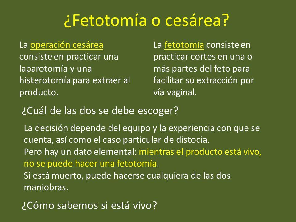 ¿Fetotomía o cesárea ¿Cuál de las dos se debe escoger