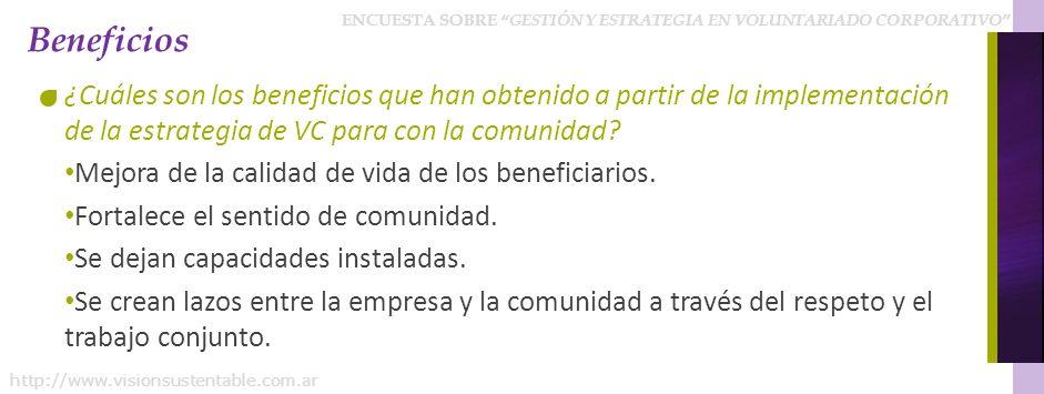Beneficios ¿Cuáles son los beneficios que han obtenido a partir de la implementación de la estrategia de VC para con la comunidad