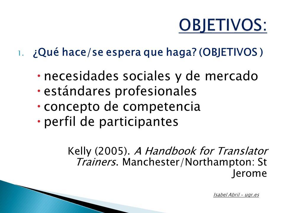 OBJETIVOS: necesidades sociales y de mercado estándares profesionales