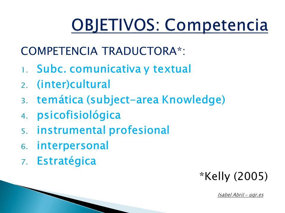 OBJETIVOS: Competencia