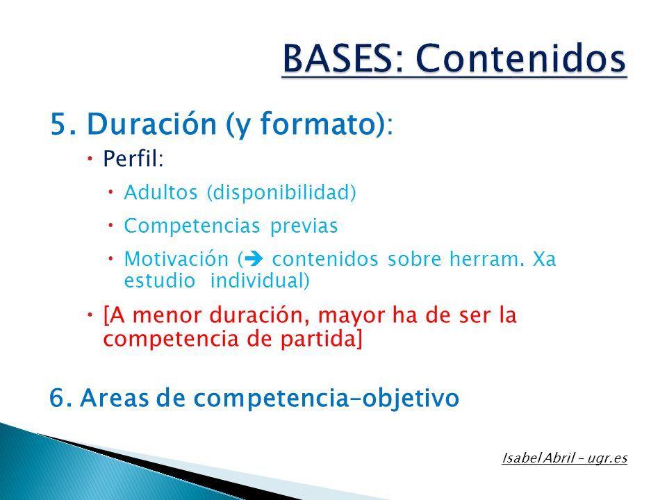 BASES: Contenidos 5. Duración (y formato):