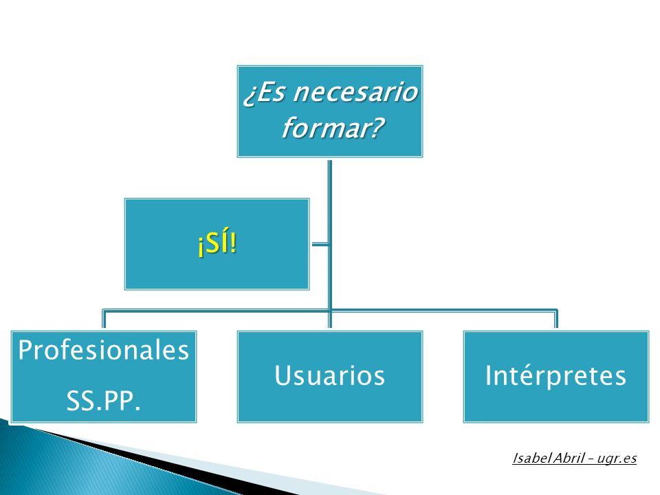 Isabel Abril – ugr.es ¿Es necesario formar ¡SÍ! Profesionales SS.PP.