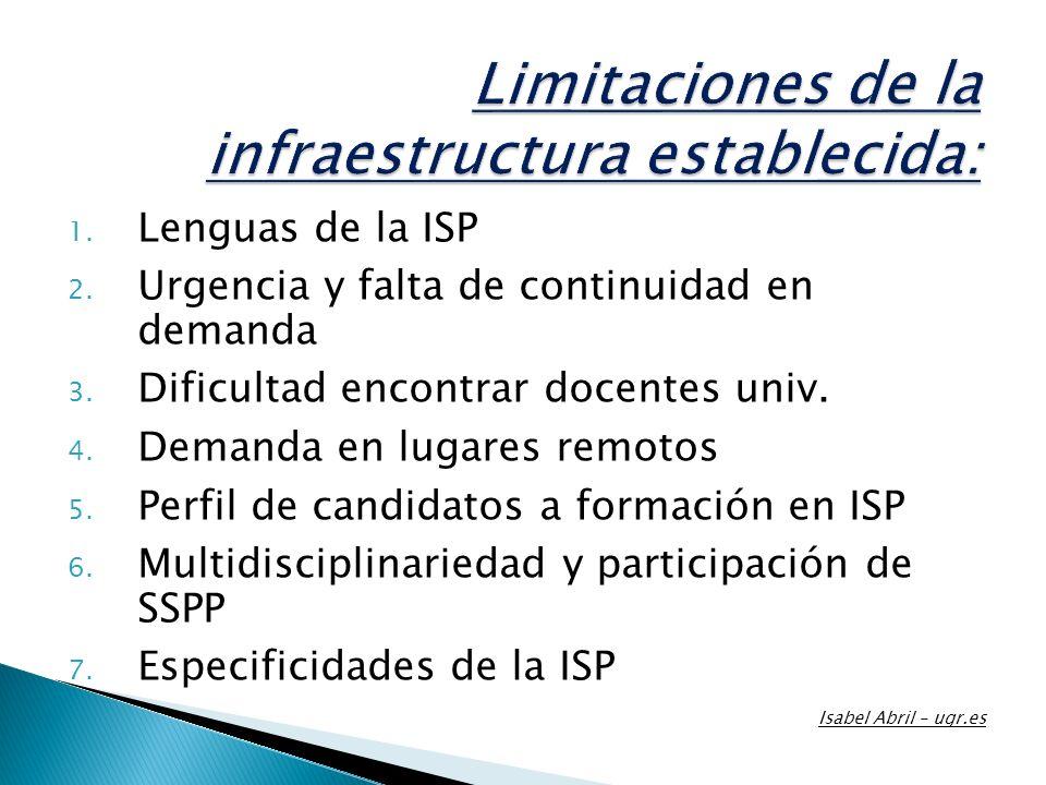 Limitaciones de la infraestructura establecida: