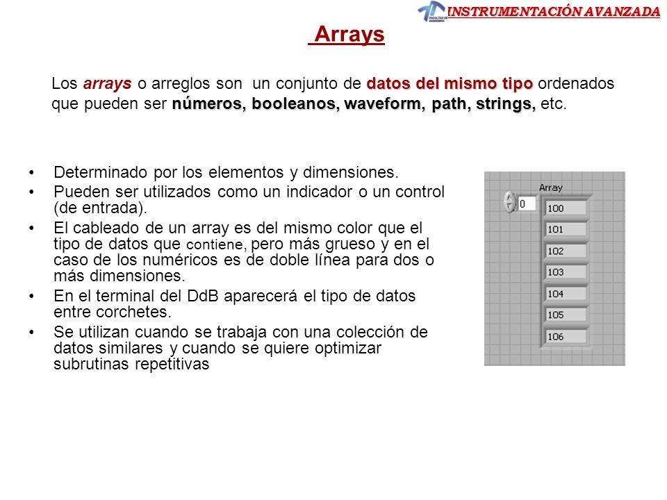 Arrays Los arrays o arreglos son un conjunto de datos del mismo tipo ordenados que pueden ser números, booleanos, waveform, path, strings, etc.
