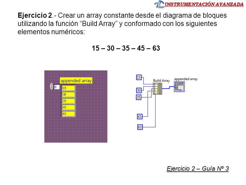 Ejercicio 2.- Crear un array constante desde el diagrama de bloques utilizando la función Build Array y conformado con los siguientes elementos numéricos: