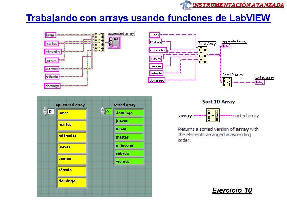 Trabajando con arrays usando funciones de LabVIEW