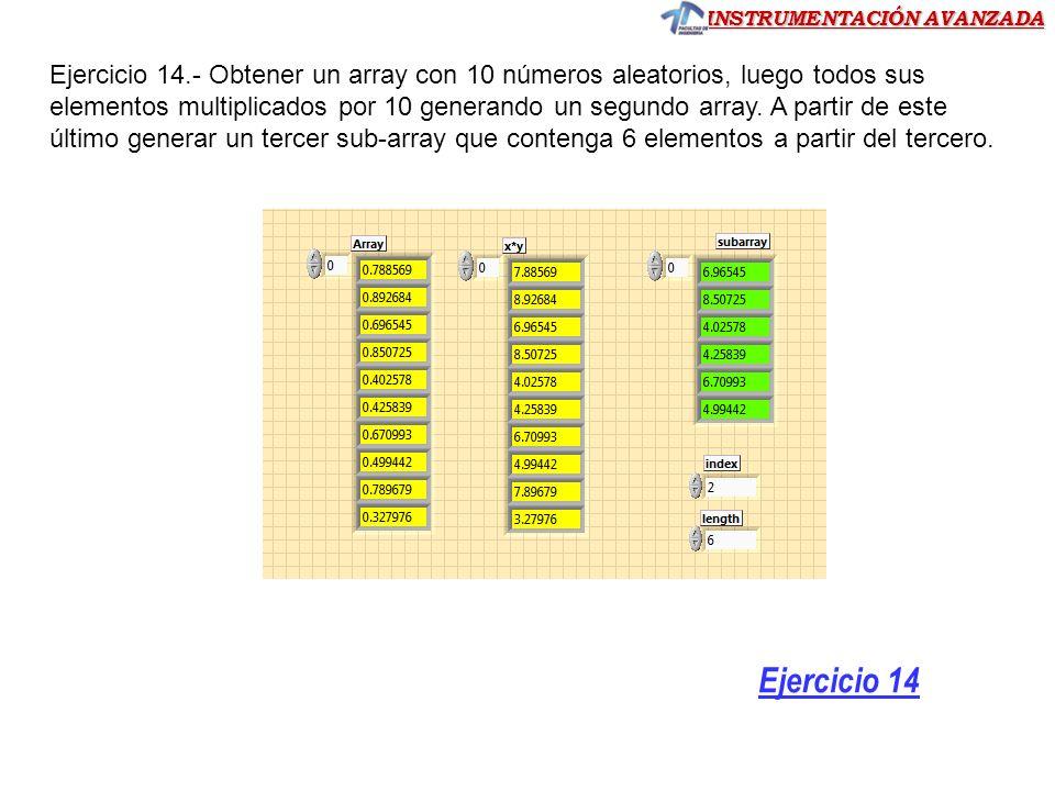 Ejercicio 14.- Obtener un array con 10 números aleatorios, luego todos sus elementos multiplicados por 10 generando un segundo array. A partir de este último generar un tercer sub-array que contenga 6 elementos a partir del tercero.