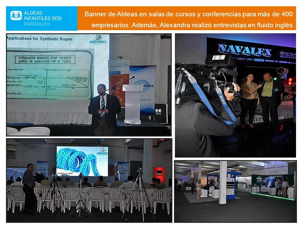 Banner de Aldeas en salas de cursos y conferencias para más de 400 empresarios.