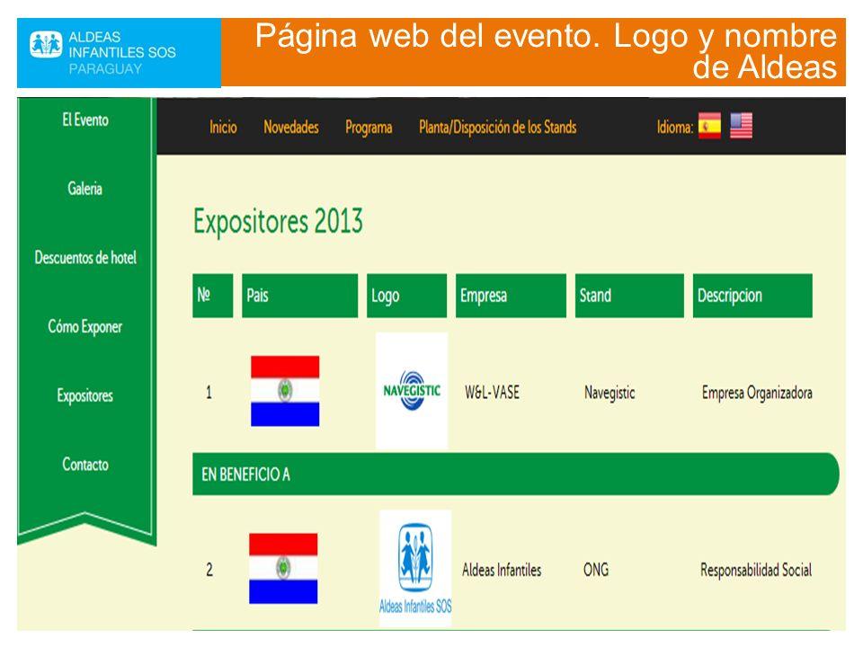 Página web del evento. Logo y nombre de Aldeas