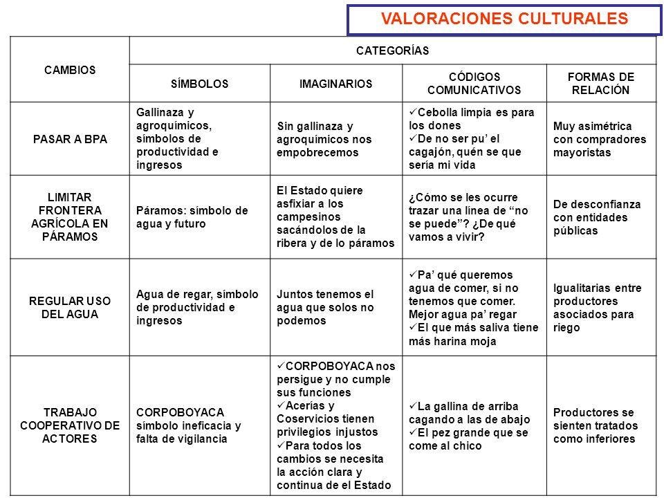 VALORACIONES CULTURALES