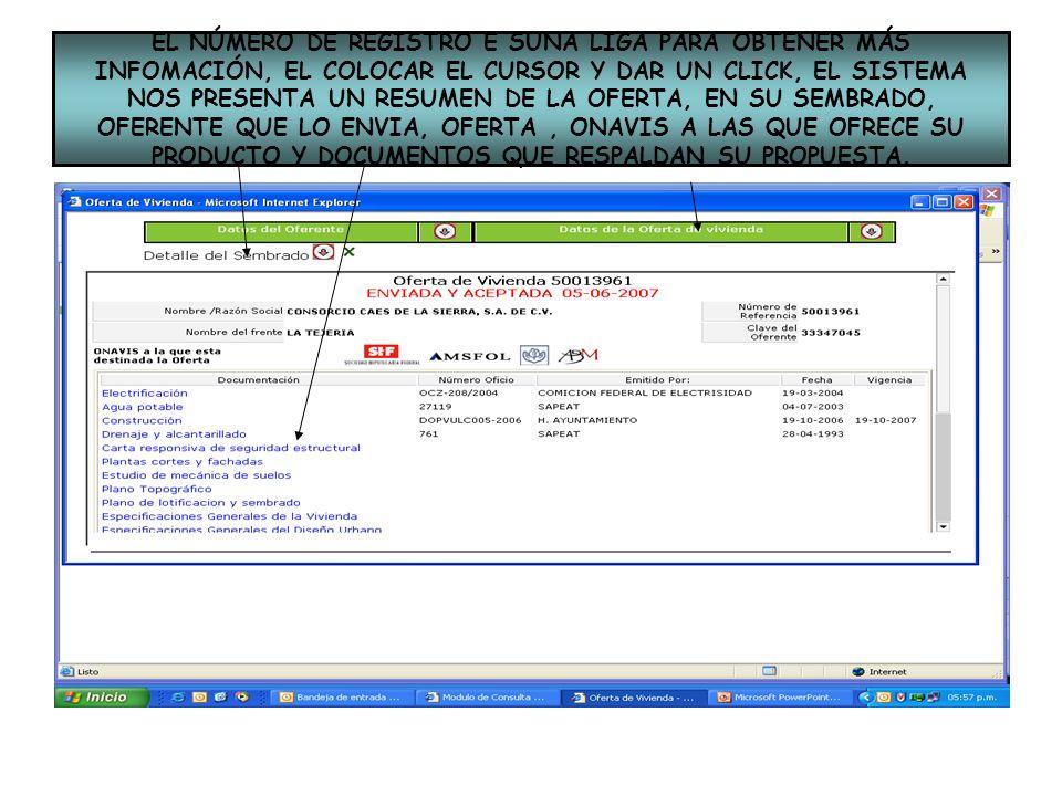 EL NÚMERO DE REGISTRO E SUNA LIGA PARA OBTENER MÁS INFOMACIÓN, EL COLOCAR EL CURSOR Y DAR UN CLICK, EL SISTEMA NOS PRESENTA UN RESUMEN DE LA OFERTA, EN SU SEMBRADO, OFERENTE QUE LO ENVIA, OFERTA , ONAVIS A LAS QUE OFRECE SU PRODUCTO Y DOCUMENTOS QUE RESPALDAN SU PROPUESTA.