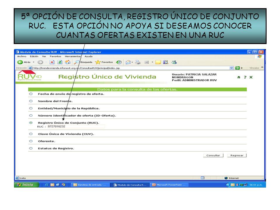 5ª OPCIÓN DE CONSULTA, REGISTRO ÚNICO DE CONJUNTO RUC