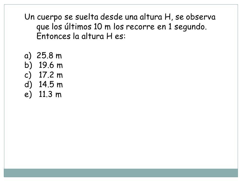 Un cuerpo se suelta desde una altura H, se observa que los últimos 10 m los recorre en 1 segundo. Entonces la altura H es: