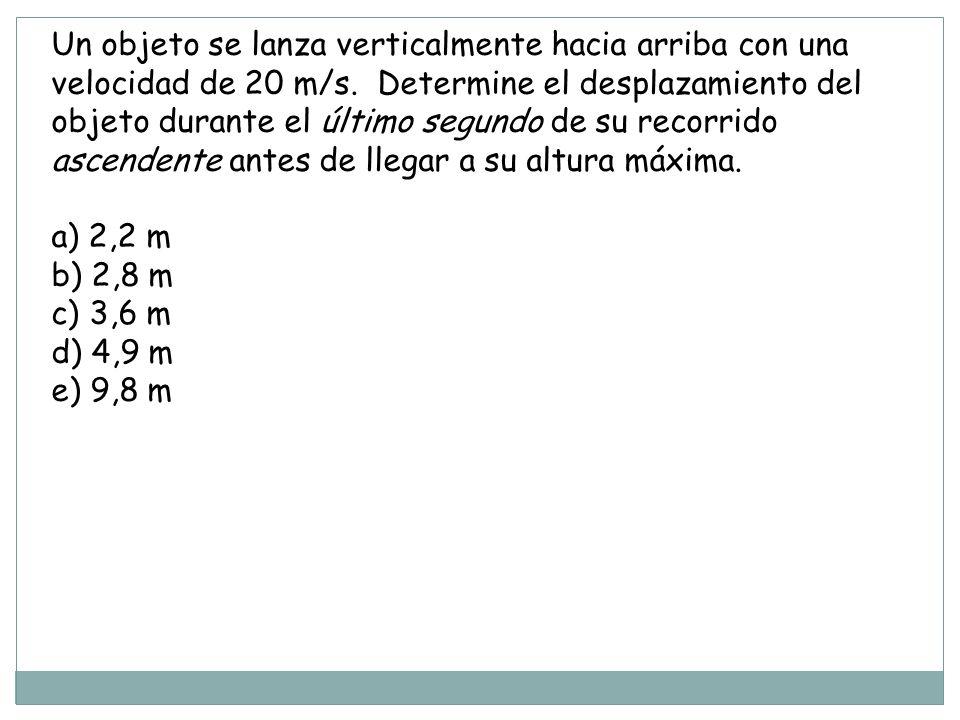 Un objeto se lanza verticalmente hacia arriba con una velocidad de 20 m/s. Determine el desplazamiento del objeto durante el último segundo de su recorrido ascendente antes de llegar a su altura máxima.