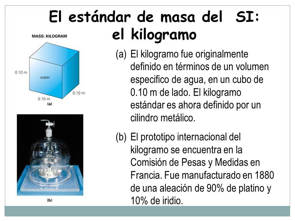 El estándar de masa del SI: el kilogramo