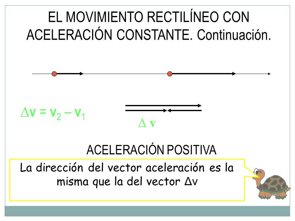 EL MOVIMIENTO RECTILÍNEO CON ACELERACIÓN CONSTANTE. Continuación.