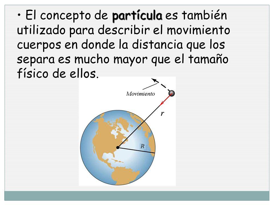 El concepto de partícula es también utilizado para describir el movimiento cuerpos en donde la distancia que los separa es mucho mayor que el tamaño físico de ellos.
