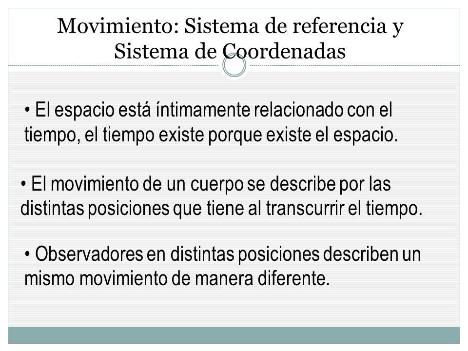 Movimiento: Sistema de referencia y Sistema de Coordenadas
