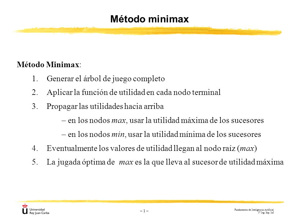 Método minimax Método Minimax: 1. Generar el árbol de juego completo