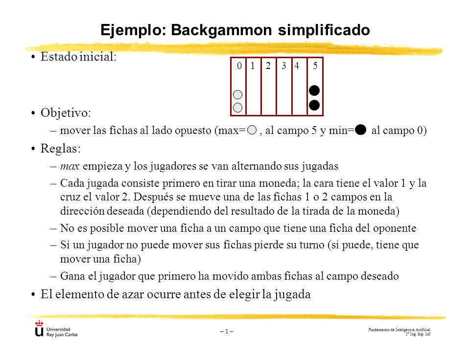 Ejemplo: Backgammon simplificado