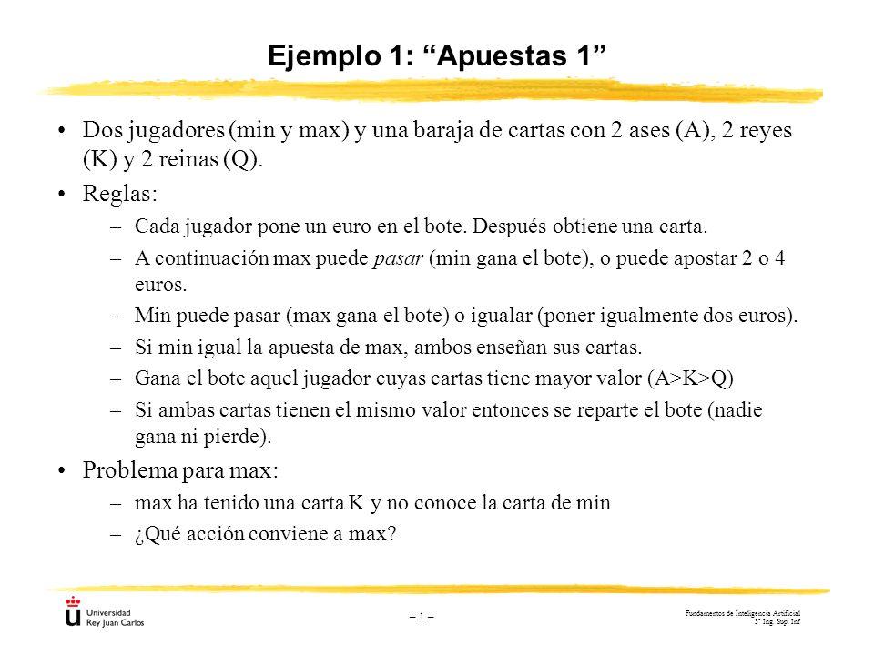 Ejemplo 1: Apuestas 1 Dos jugadores (min y max) y una baraja de cartas con 2 ases (A), 2 reyes (K) y 2 reinas (Q).