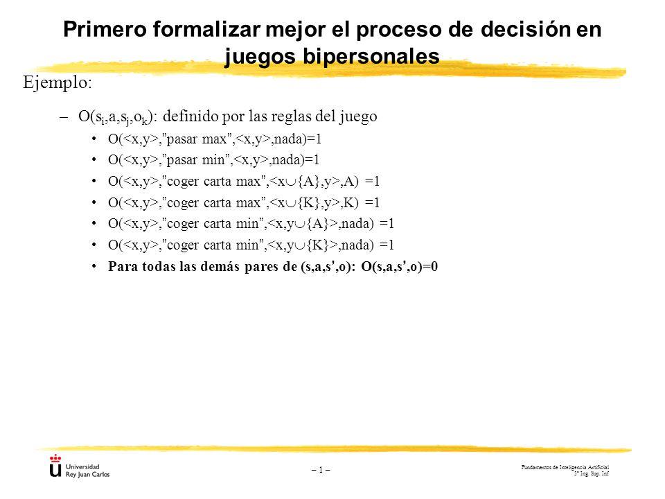 Primero formalizar mejor el proceso de decisión en juegos bipersonales