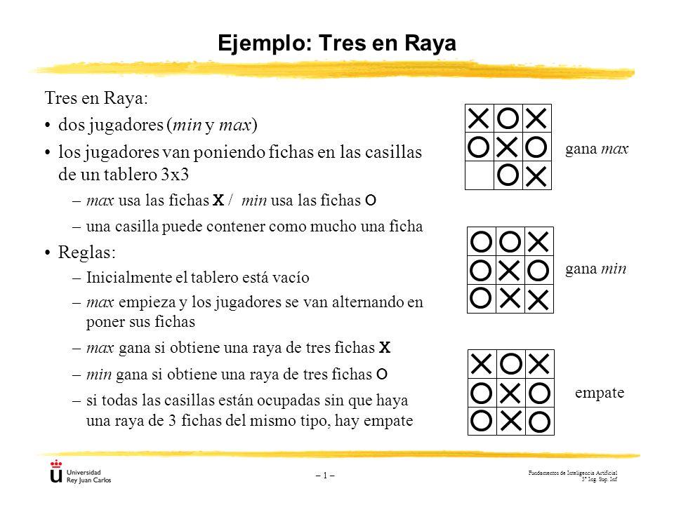 Ejemplo: Tres en Raya Tres en Raya: dos jugadores (min y max)