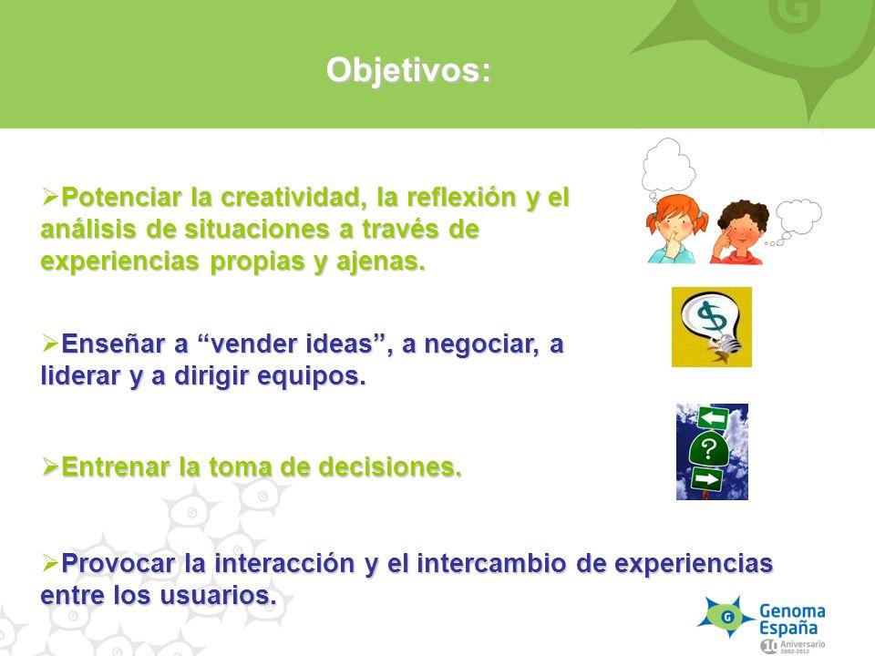Objetivos: Potenciar la creatividad, la reflexión y el análisis de situaciones a través de experiencias propias y ajenas.