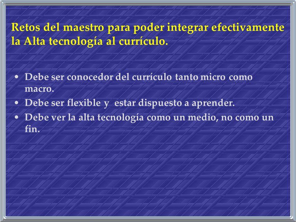 Retos del maestro para poder integrar efectivamente la Alta tecnología al currículo.
