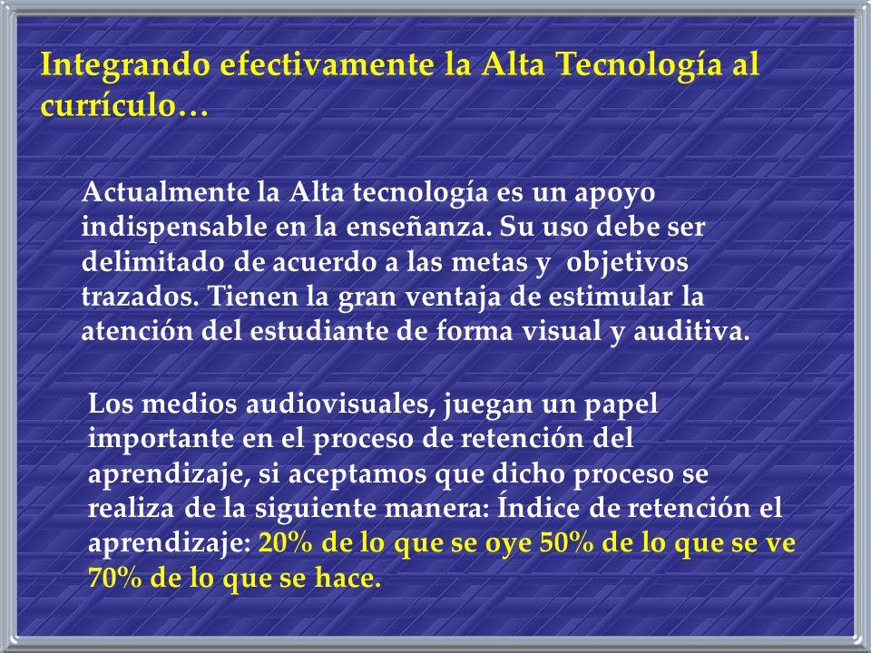 Integrando efectivamente la Alta Tecnología al currículo…
