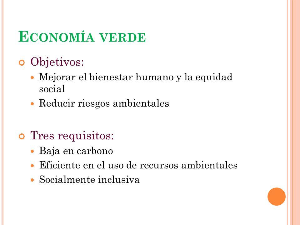 Economía verde Objetivos: Tres requisitos: