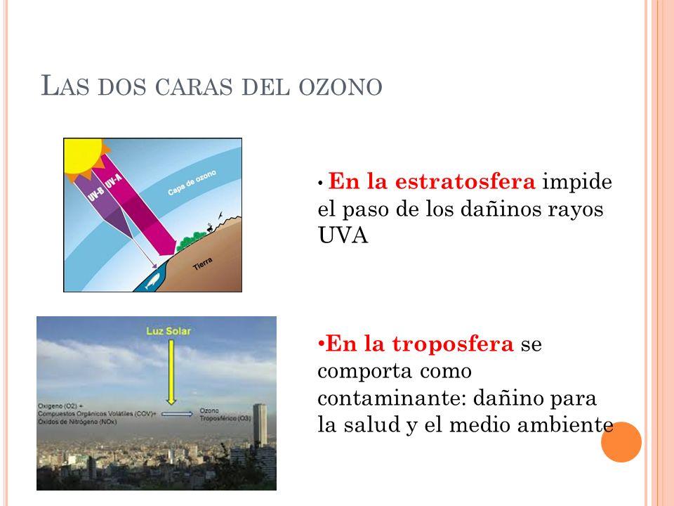 Las dos caras del ozono En la estratosfera impide el paso de los dañinos rayos UVA.