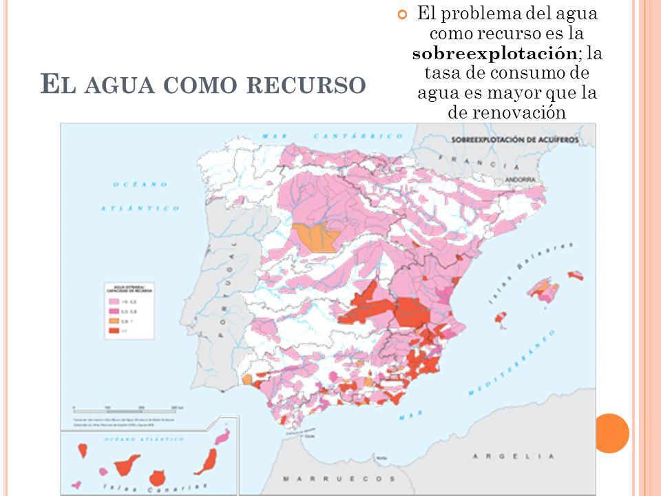 El problema del agua como recurso es la sobreexplotación; la tasa de consumo de agua es mayor que la de renovación