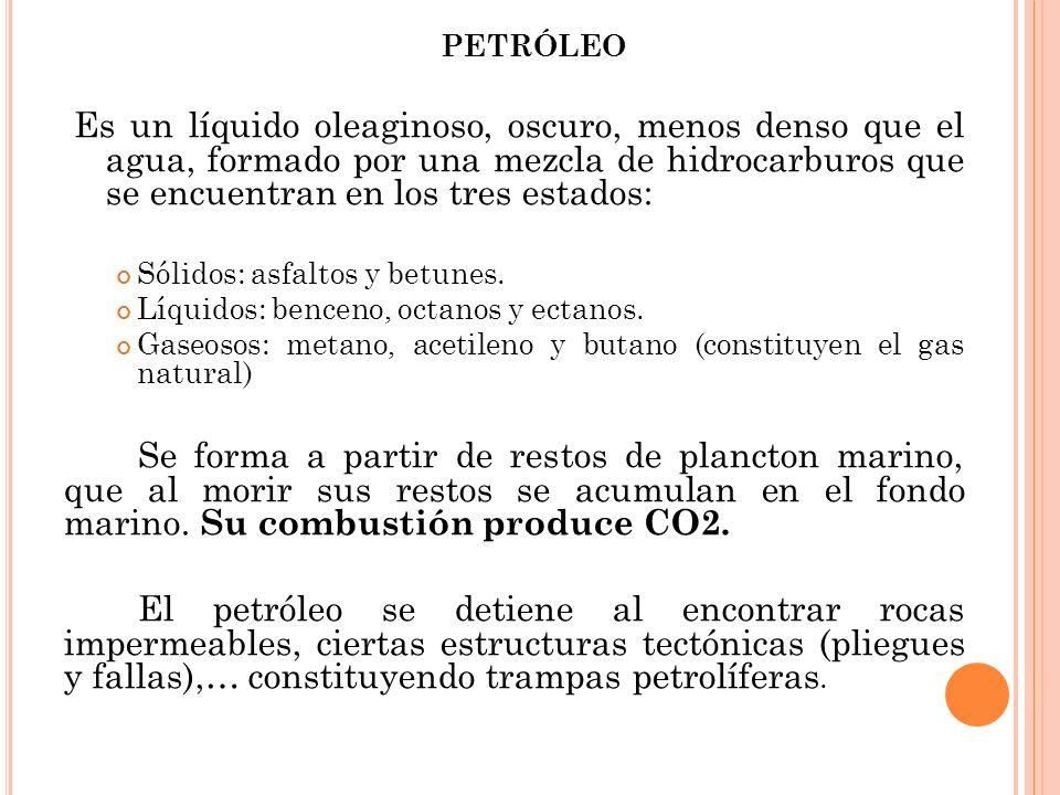 PETRÓLEO Es un líquido oleaginoso, oscuro, menos denso que el agua, formado por una mezcla de hidrocarburos que se encuentran en los tres estados:
