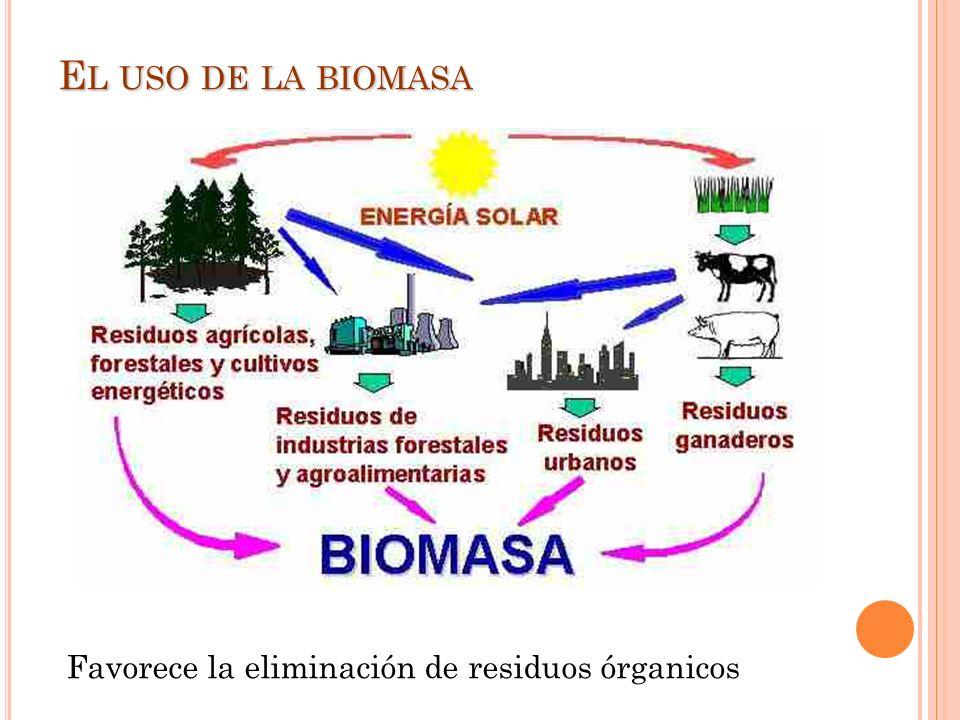 El uso de la biomasa Favorece la eliminación de residuos órganicos