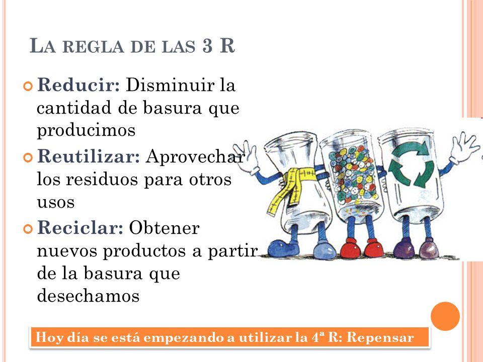 La regla de las 3 R Reducir: Disminuir la cantidad de basura que producimos. Reutilizar: Aprovechar los residuos para otros usos.