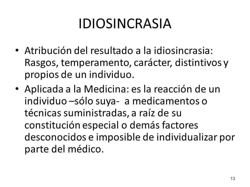 IDIOSINCRASIA Atribución del resultado a la idiosincrasia: Rasgos, temperamento, carácter, distintivos y propios de un individuo.