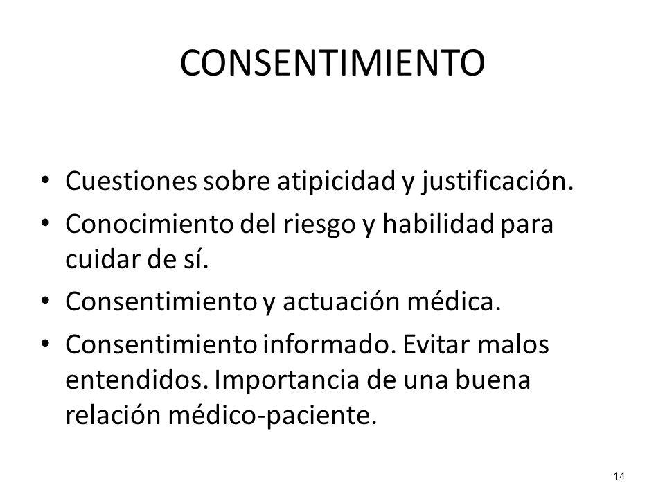 CONSENTIMIENTO Cuestiones sobre atipicidad y justificación.