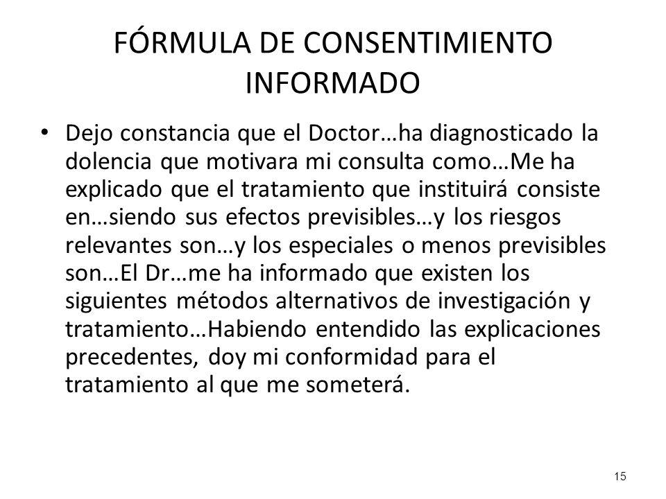 FÓRMULA DE CONSENTIMIENTO INFORMADO