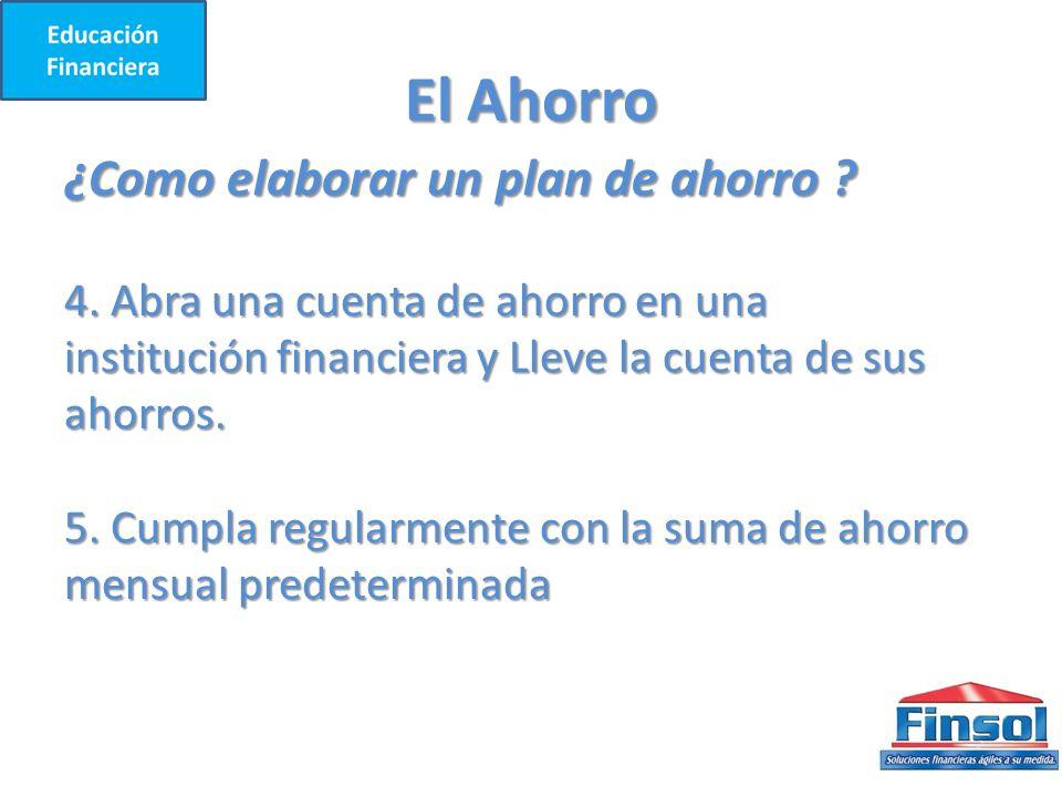 El Ahorro ¿Como elaborar un plan de ahorro