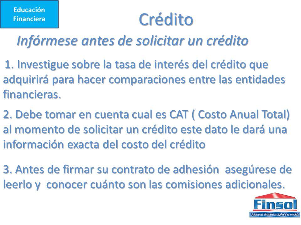Crédito Infórmese antes de solicitar un crédito