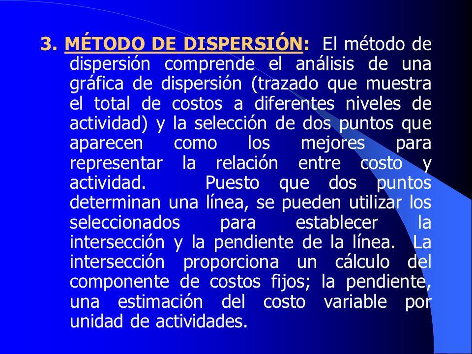 3. MÉTODO DE DISPERSIÓN: El método de dispersión comprende el análisis de una gráfica de dispersión (trazado que muestra el total de costos a diferentes niveles de actividad) y la selección de dos puntos que aparecen como los mejores para representar la relación entre costo y actividad. Puesto que dos puntos determinan una línea, se pueden utilizar los seleccionados para establecer la intersección y la pendiente de la línea. La intersección proporciona un cálculo del componente de costos fijos; la pendiente, una estimación del costo variable por unidad de actividades.