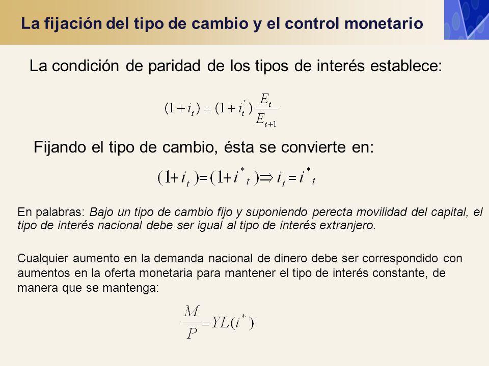 La fijación del tipo de cambio y el control monetario